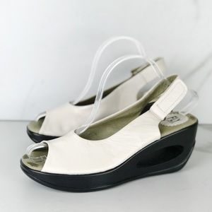 Fly London White Leather Wedges Sandals Velcro 40